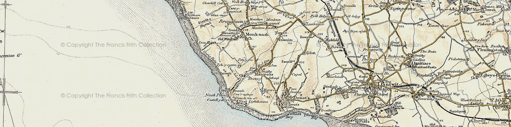 Old map of Marcross in 1899-1900