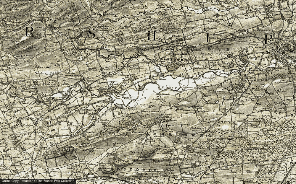 Old Map of Historic Map covering Balgarrock in 1907-1908