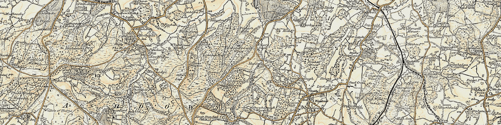 Old map of Wood Eaves in 1898