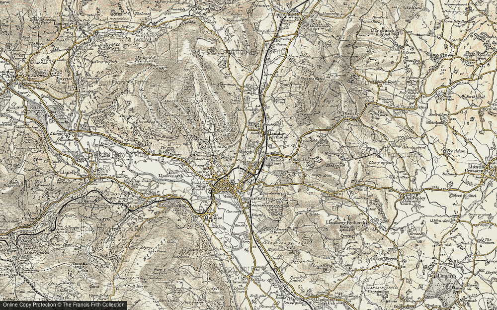 Old Map of Historic Map covering Afon Gafenni in 1899-1900