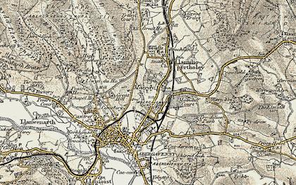 Old map of Afon Gafenni in 1899-1900