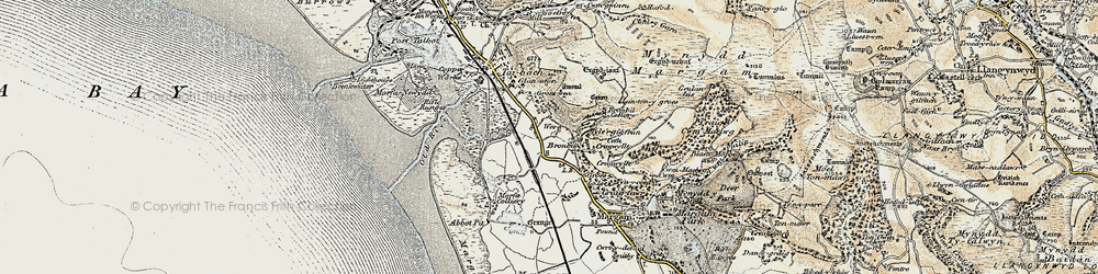 Old map of Margam in 1900-1901