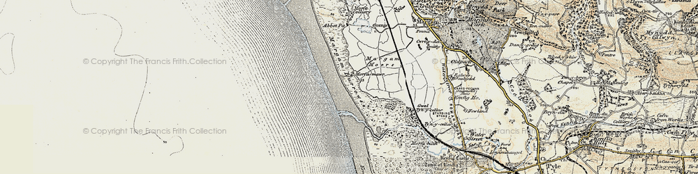 Old map of Afon Cynffig in 1900-1901