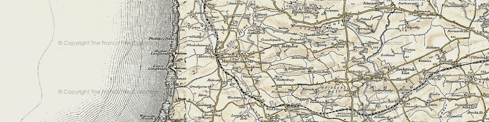 Old map of Wooldown in 1900