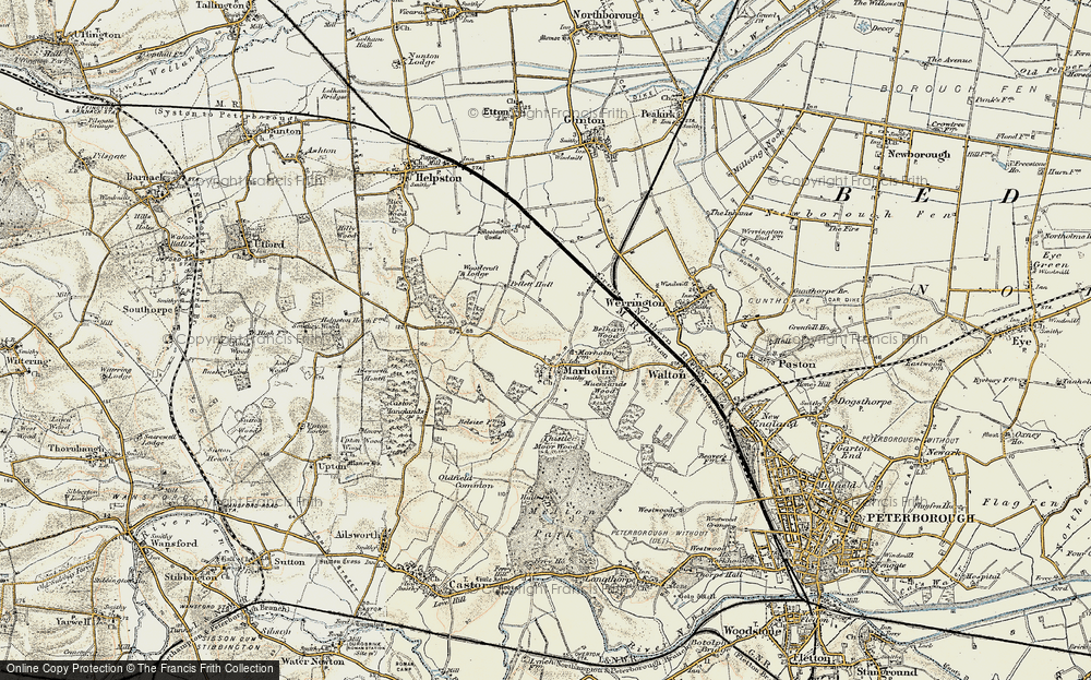 Old Map of Historic Map covering Woodcroft Lodge in 1901-1902