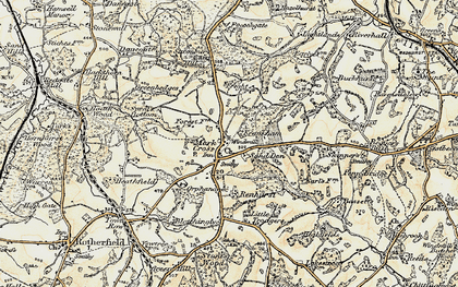 Old map of Mark Cross in 1898