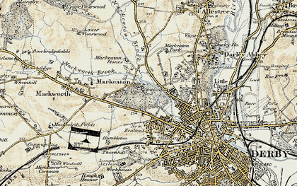 Old map of Markeaton in 1902-1903