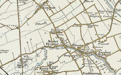 Old map of Market Deeping in 1901-1902