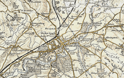 Old map of Market Drayton in 1902