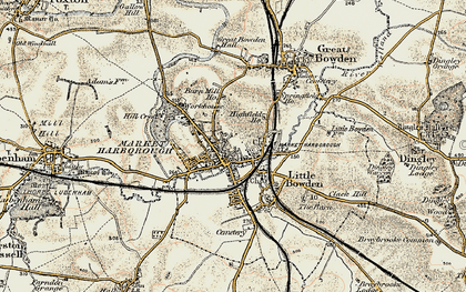 Old map of Market Harborough in 1901-1902