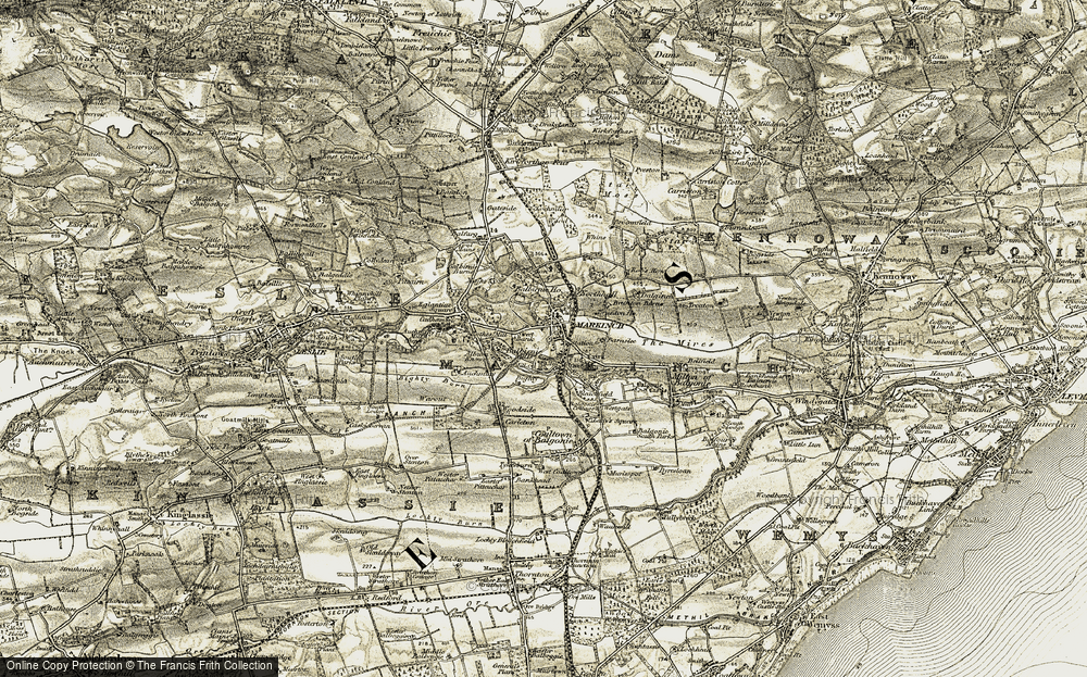 Old Map of Historic Map covering Balbirnie Ho in 1903-1908