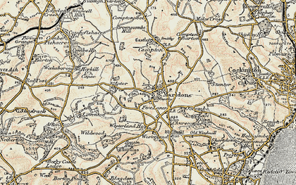 Old map of Marldon in 1899