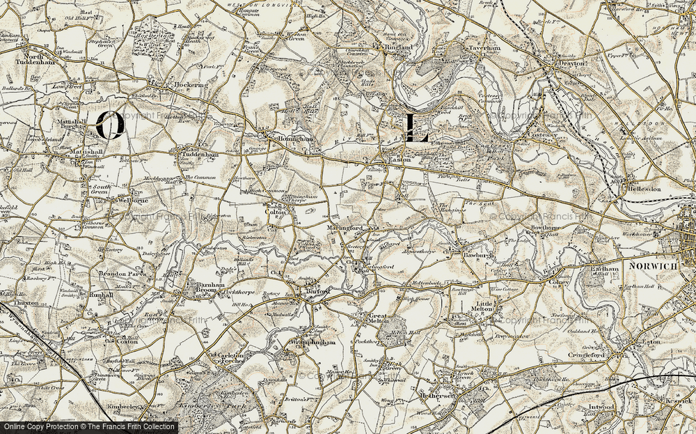 Old Map of Marlingford, 1901-1902 in 1901-1902