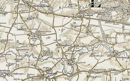 Old map of Marlingford in 1901-1902