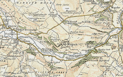 Old map of Marrick in 1903-1904