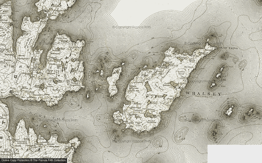 Old Map of Historic Map covering Linga Sound in 1912