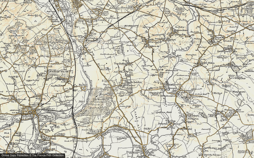Old Map of Historic Map covering Baldon Brook in 1897-1899