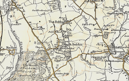 Old map of Baldon Brook in 1897-1899
