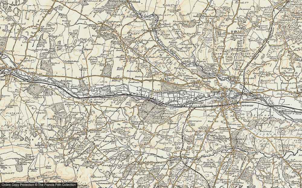 Old Map of Historic Map covering Benham Park in 1897-1900