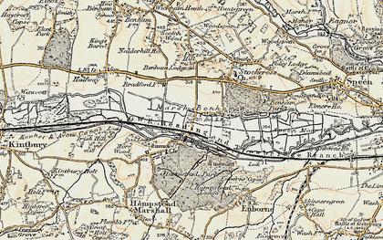 Old map of Benham Park in 1897-1900