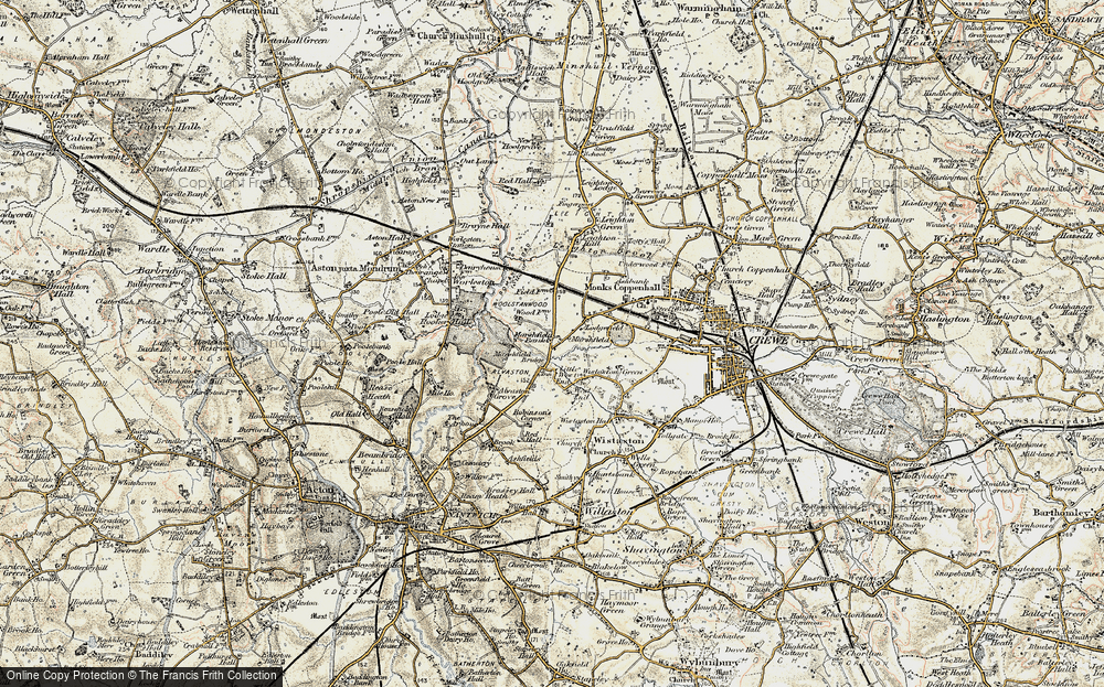 Old Map of Historic Map covering Leighton Grange in 1902-1903