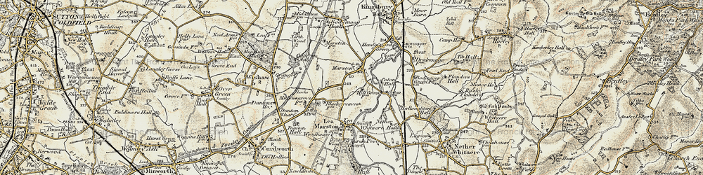 Old map of Marston in 1901-1902