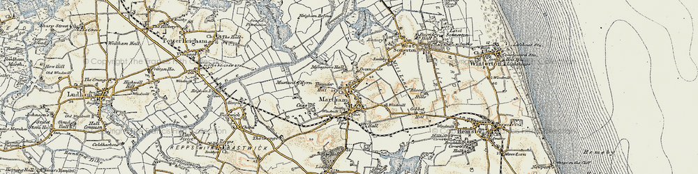 Old map of Martham in 1901-1902