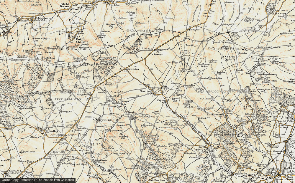 Old Map of Historic Map covering Tidpit Common Down in 1897-1909