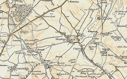 Old map of Tidpit Common Down in 1897-1909