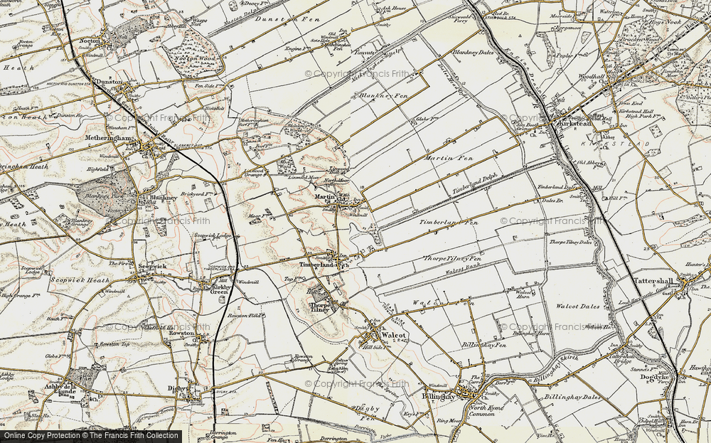 Old Map of Historic Map covering Linwood Moor in 1902-1903