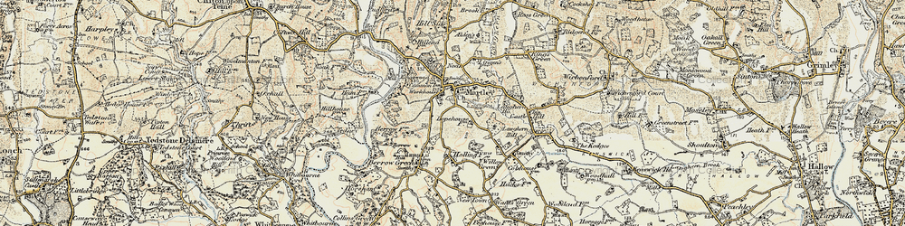 Old map of Martley in 1899-1902