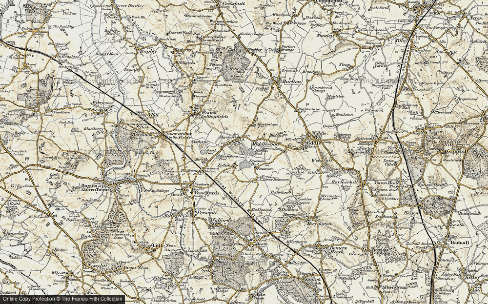 Old Map of Historic Map covering Fenemere in 1902