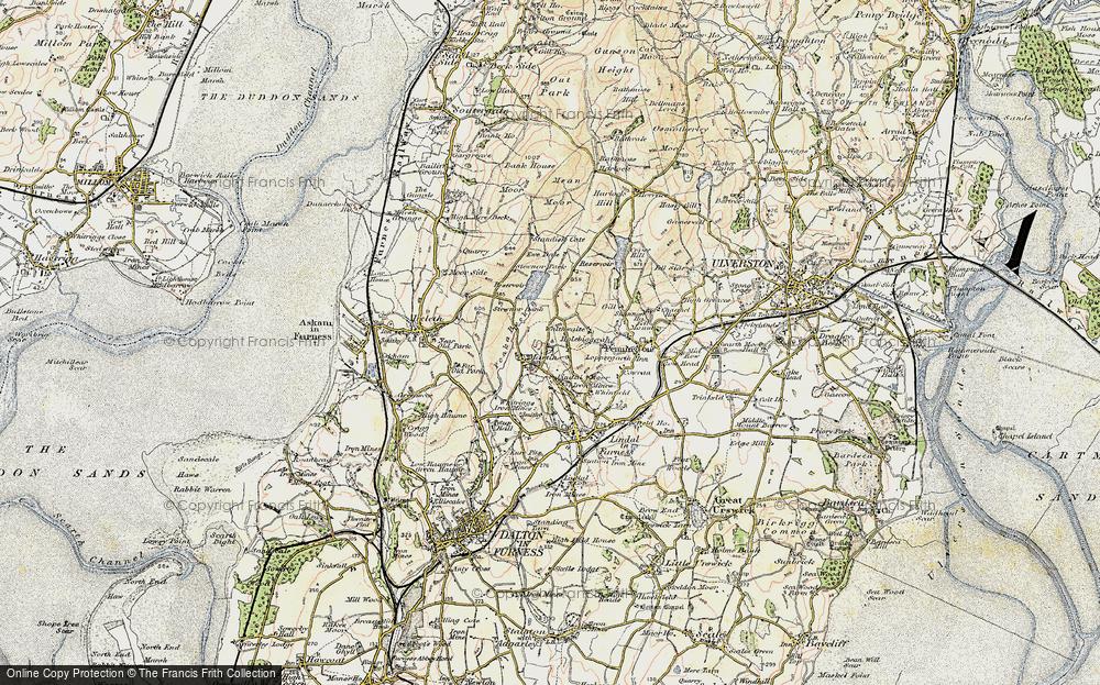 Old Map of Historic Map covering Lindal Moor in 1903-1904