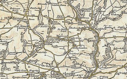 Old map of Wigley Cross in 1900
