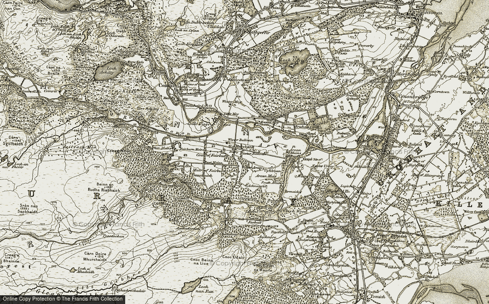 Old Map of Historic Map covering Achnasoul in 1908-1912