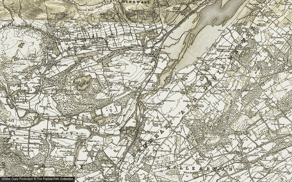 Old Map of Historic Map covering Bakerhill in 1911-1912