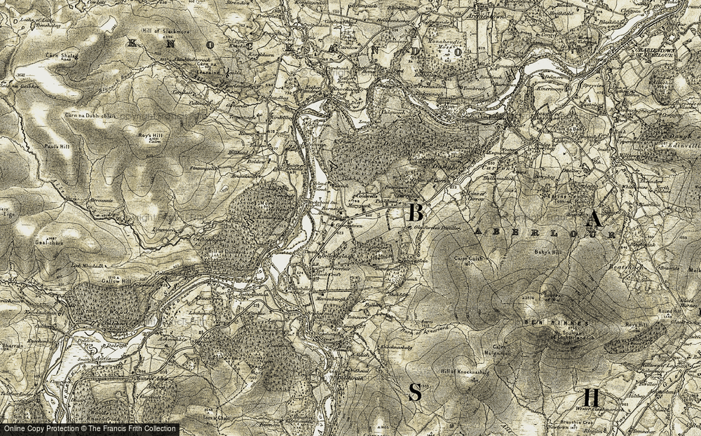 Old Map of Historic Map covering Tommore in 1908-1911