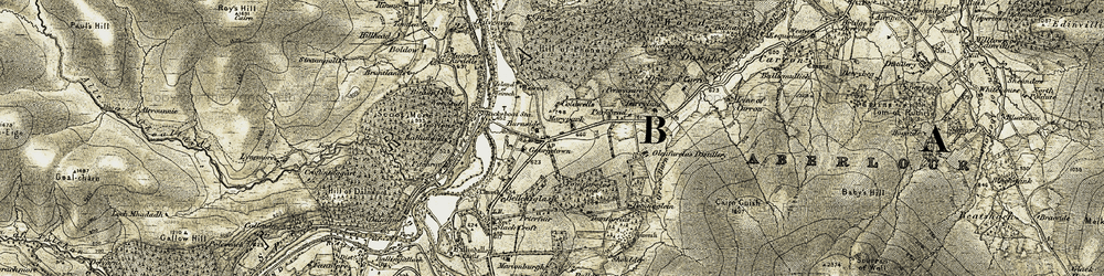 Old map of Tomfarclas Wood in 1908-1911