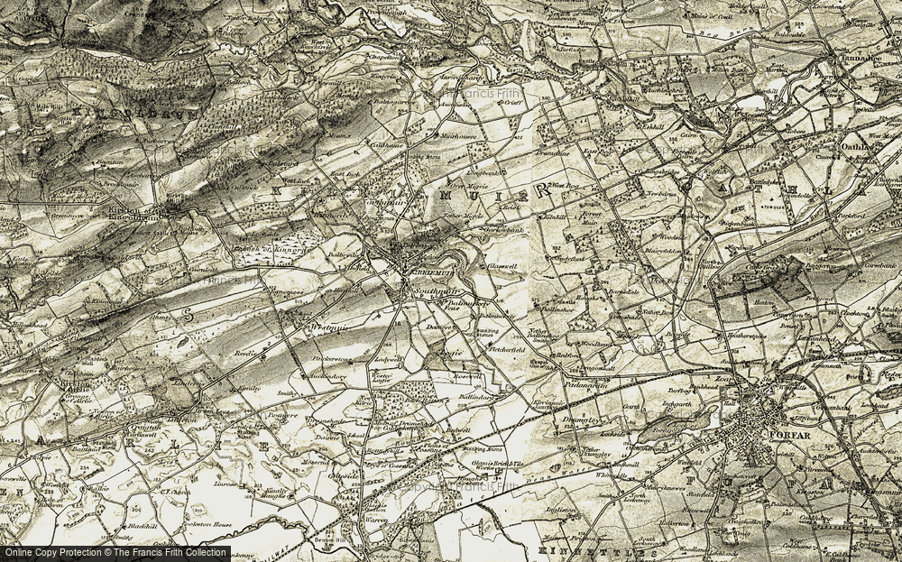 Old Map of Historic Map covering Balmuckety in 1907-1908