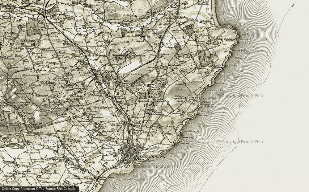 Old Map of Historic Map covering Bankfoot in 1907-1908