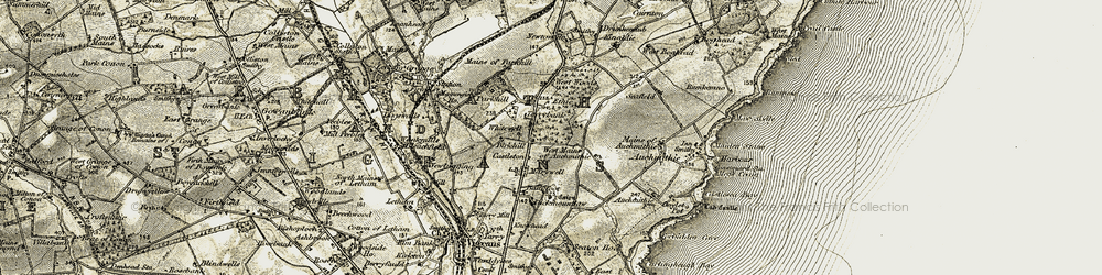 Old map of West Woods of Ethie in 1907-1908