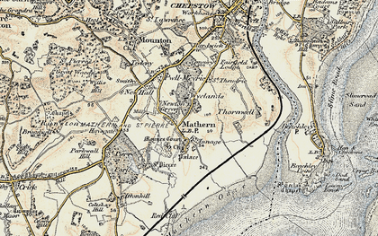 Old map of Mathern in 1899