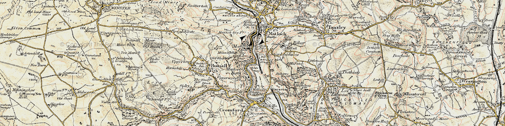Old map of Matlock Bath in 1902-1903