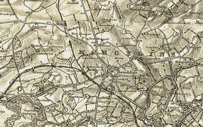 Old map of Mauchline in 1905