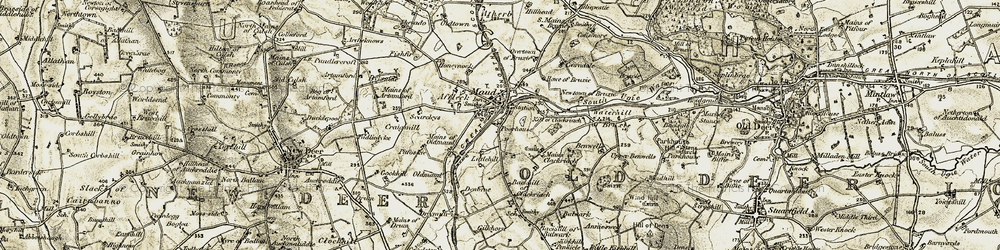 Old map of Affleck in 1909-1910