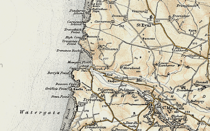 Old map of Mawgan Porth in 1900