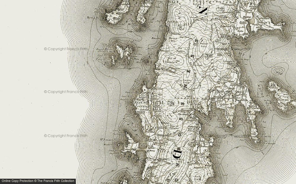 Old Map of Historic Map covering Yaafield in 1911-1912