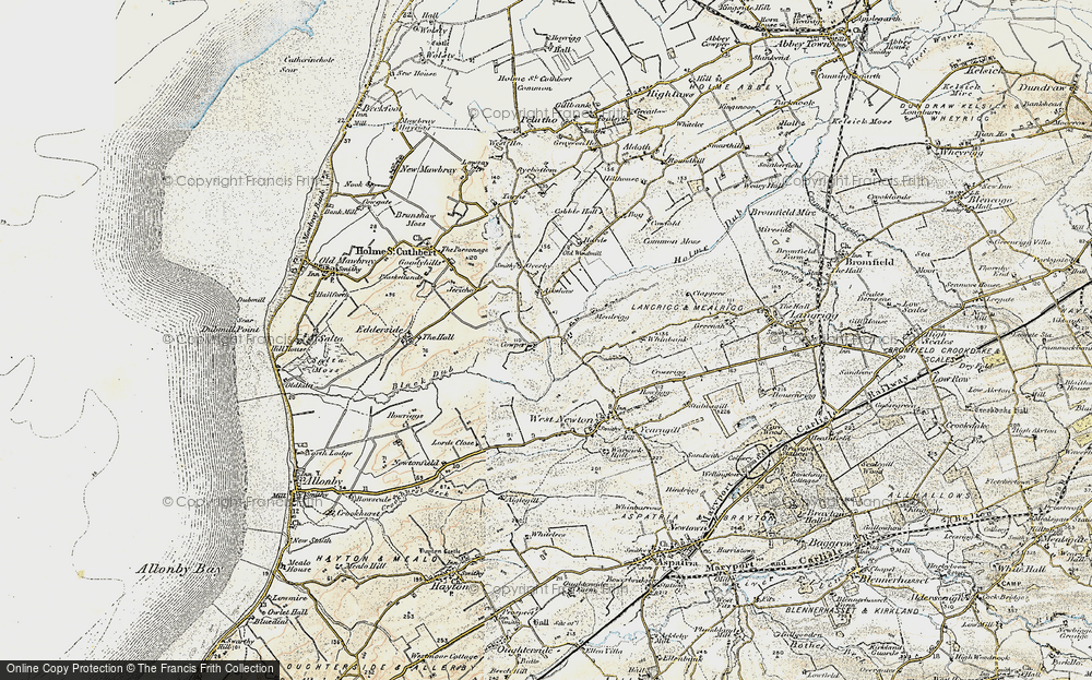 Old Map of Historic Map covering Aikshaw in 1901-1904