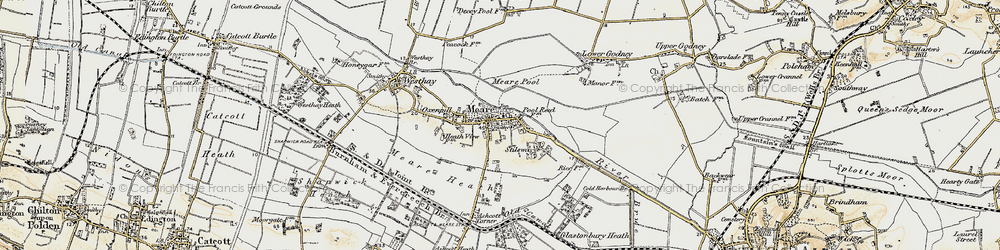 Old map of Meare in 1898-1900