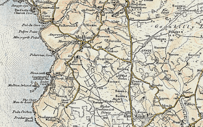 Old map of Meaver in 1900